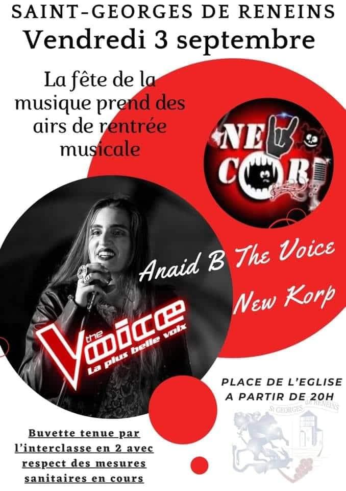 affice du concert New Corp pour la fète de la musique à St Georges de Reneins